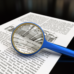 magnifying glass on a printed page